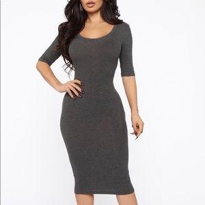 Ribbed Midi Dress in Charcoal/Grey